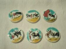 Série de 6 Boutons en Céramique / Corrida Tauromachie - Vintage Buttons