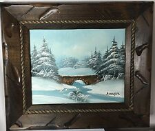 Barrister Signed  Oil Painting - Vintage Winter Bridge Scene Snow  .