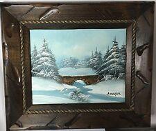 Barrister Signed  Oil Painting - Vintage Winter Bridge Scene Snow  .