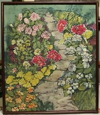 "Vintage Batik Dyed Cloth ""Garden Path"" Wall Art Signed By Artist Brogren"