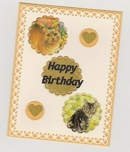 Blank Handmade Greeting Card ~ HAPPY BIRTHDAY with CATS AND HEARTS