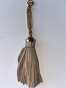 Michael Kors Beige Leather Tassel Key Fob Keychain Bag Charm