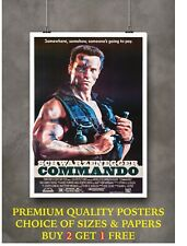 More details for commando arnold classic movie large poster art print gift a0 a1 a2 a3 a4