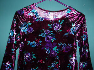 Justice purple and blue velvet floral dress    Size 10