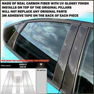 FITS JAGUAR XF 2009-19 REAL BLACK CARBON FIBER WINDOW PILLAR POSTS - 6 PCS