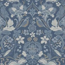 Arthouse  Folk Floral Denim Blue Wallpaper Flower Botanical Animal Print Bird