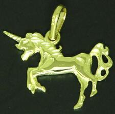 Ausgefallene Einhorn Anhänger 585 Gold 14 Kt Gelbgold Kettenanhänger Massiv