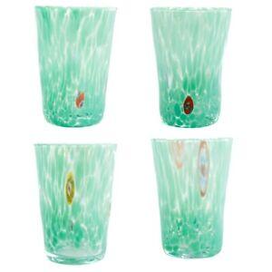 Murano Glass Drinking Glass Tumblers Set of Four 4 Green Millefiori