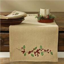 Primitive Country Burlap & Berries Table Runner 13X54 Lined Tan Cotton