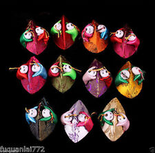 New 10PCS Mix Color Handmade Two Boy's Head Silk Jewelry Ring Box Coin Bag Purse