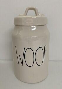 Rae Dunn WOOF Dog Treat Jar Ceramic Canister by Magenta