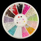 Hot Sell Nail Art Flatback Half Round Resin Pearls Decoration Wheel 12 Colors