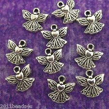Antique Silver Alloy Metal Small Angel Charms 24 Pieces  12.6mm x 11.7mm  #0443