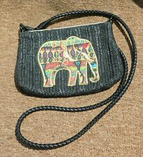 """Sakroots Elephant Woven Handbag Clutch Leather Shoulder Strap 9.5"""""""