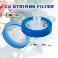 10pcs CA Lab Syringe Filter OD 25MM,0.22μm, Made In Cellulose Acetate Membrane