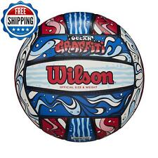 Outdoor Volleyball Game Official Size Graffiti Leather Ball Red/White/Blue New