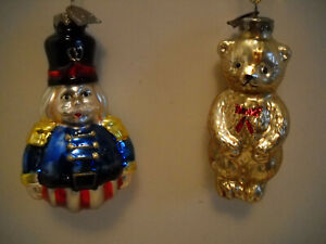 2 VINTAGE THOMAS PACCONI CLASSICS CHRISTMAS ORNAMENTS GLASS, TOY SOLDIER/BEAR