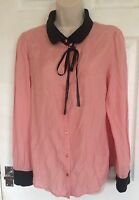 PINS AND NEEDLES Ladies pink collar shirt top size L 14