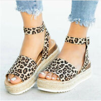 Women Girls Platform Sandals Buckle Strap Casual Open Toe Fish Mouth Wedge Shoes
