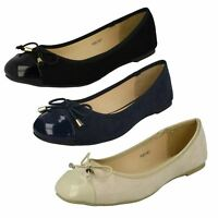 Ladies Spot On Bow Ballerina Shoes Dolly Shoes