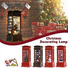 LED Glitter Water Spinner Lantern Snow Scene Telephone Box Christmas Decoration