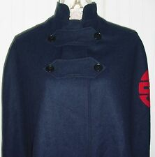 1940s WWII navy blue wool nurses cape red lining 100% wool