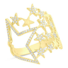Ladys 0.31 CT 14K Yellow Gold Natural Round Cut Diamond Multi Star Cocktail Ring