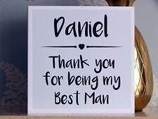 Personalised Thank You For Being My Best Man Card - Blue - ANY NAME (Thankyou)