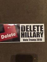DELETE HILLARY VOTE TRUMP 2016 ANTI HILLARY POLITICAL  STICKER