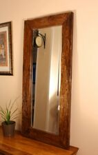 Antique Wood Mirror Teak Wood Wall Mirror Bathroom Hall Rustic Solid Vintage