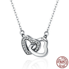 Silver Double Love Heart Couple Pendant Necklace for Women Simple Beautiful Gift