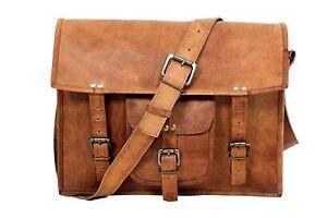 NEW Mens Goat Vintage Brown Leather Messenger Bag Shoulder Laptop Briefcase