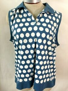 Liz golf Liz Claiborne sleeveless top Size XL white blue polka dot Lizgolf
