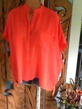 Cliche Sheer Neon Orange Oversize Blouse Top Chiffon Hi-Lo Size Medium NWT$59