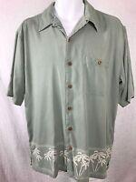 Paradise Coves Size L 100% Silk Shirt Hawaiian Tropical Palms Green Aloha Cruise