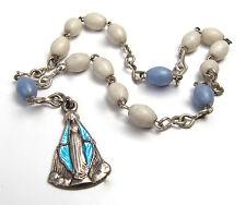 Vintage Italian Tiny Rosary Early Plastic Chaplet Glass Enamel Miraculous Medal