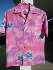 VINTAGE HILO HATTIE HAWAIIAN SHIRT PINK ASIAN FLORAL S