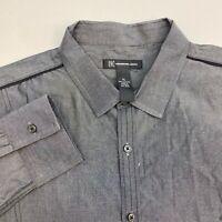 INC International Concepts I-N-C Button Up Shirt Mens XL Gray Long Sleeve Casual