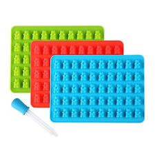 3 PCS Silicone Gummy Bear Molds 50 Cavities - BONUS DROPPER Novelty Candy Cho...