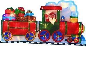 Large Window Santa in Train Warm White 20 LED Light up Sign  Xmas Decoration B/O