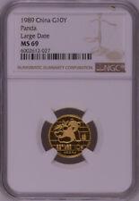 NGC MS69 1989 China Panda 1/10oz Gold Coin Large Date
