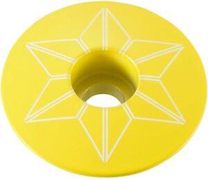 "SUPACAZ STAR CAPZ 1-1/8"" POWDER COATED NEON YELLOW BICYCLE HEADSET TOP CAP"