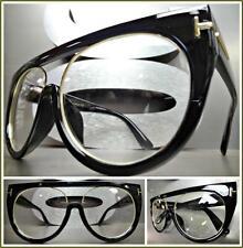 OVERSIZED VINTAGE RETRO Style Clear Lens EYE GLASSES Black & Gold Fashion Frame