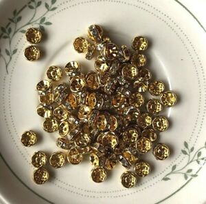 20 Gold Tone 8mm 'A' Grade Rhinestone Crystal Roundel jewellery making Craft DIY