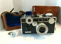 """Vintage Argus 35mm Film Camera """"the brick"""" 50mm f/3.5 Lens With Leather Case"""