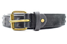Fosco Studded Mens Leather Belt Black Size 34