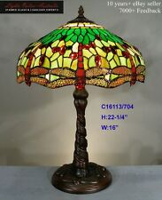 TIFFANY STAINED GLASS LEADLIGHT DRAGONFLY TABLE LAMP
