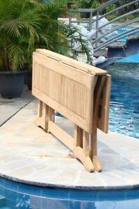 "9-Piece Outdoor Teak Dining Set: 69"" Console/Folding Table, 8 Chairs Devon"