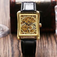 WINNER Rectangle Shape Skeleton Dial Women Mechanical Hand Winding Wrist Watch