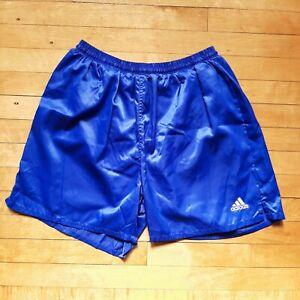 Vintage Adidas Silky Satin Nylon Soccer Shorts Solid Blue Drawstring Mens Size L